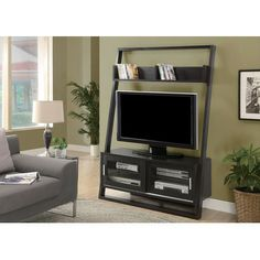 "Monarch 2552 - Cappuccino 48""L Ladder TV Unit with 2 Sliding Doors 
