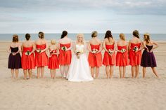 Beach wedding | bridesmaids pose | Two Rivers, WI | Large bridal party