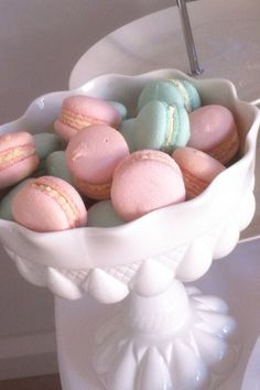 Pink and blue macaroons