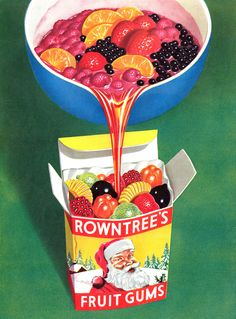 A Christmas themed Rowntree's Fruit Gums advertisement. I loved having a box of these in their fruit shapes! Vintage Sweets, Retro Sweets, Vintage Food, Retro Candy, Vintage Candy, Retro Recipes, Vintage Recipes, Retro Advertising, Vintage Advertisements