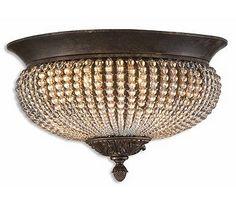 Uttermost Cristal De Lisbon Flush Ceiling Mount - Trade out those typical builder lights for some bling!
