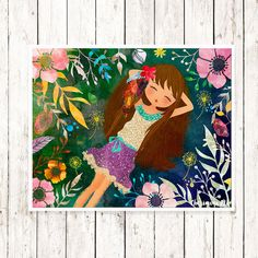 Hey, I found this really awesome Etsy listing at https://www.etsy.com/listing/235977455/girl-wall-art-print-flower-girl-nursery