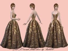 Gold Brocade formal dress by TrudieOpp at TSR via Sims 4 Updates
