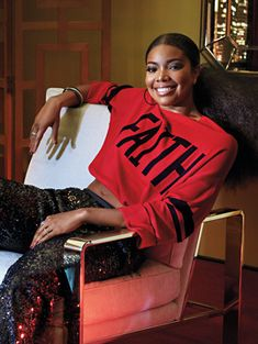 """New - Gabrielle Union Collection, exclusively at New York & Company! Bold graphic lettering and sporty racing stripes make our drawstring """"Faith"""" sweater a style standout. Cute Casual Outfits, Stylish Outfits, Fashion Outfits, Fashion Tips, Fashion Poses, Girly Outfits, Fall Outfits, Gabrielle Union, New Yorker Street Style"""