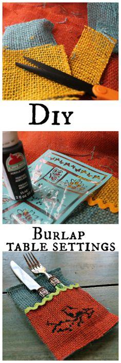 Diy #burlap table place settings.
