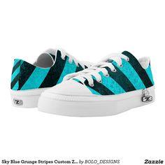 Sky Blue Grunge Stripes Custom Zipz Kickers