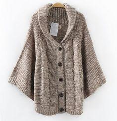 Pas cher Anne femmes ponchos 2015 mode casual dames cavaliers tricoté manteau…