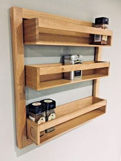 Wren Living Solid Natural Oak spice rack. The Wood is Solid Oak - Light & Dark Grains including notches are a visible Characteristic of natural oak. It's a well constructed piece & built to suit a busy kitchen environment, knocks & bumps will just add more character.Ideal for wall mounting or the inside of a cupboard door. | eBay!