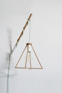 Geometric Triangle Wooden Lamp Handmade Hook with a Colored