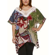 Plus Size Vintage Tribal Print Lace Spliced Asymmetric Blouse
