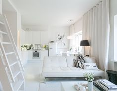 white on white living room.