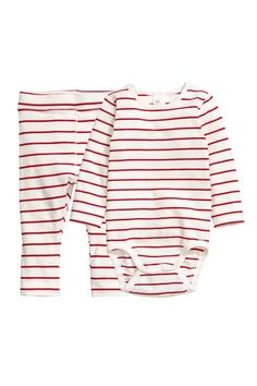 Bodysuit and trousers - Natural white/Red striped - Kids   H&M GB