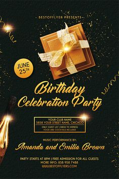 Birthday Party Flyer Template Free Fresh Birthday Celebration Free Flyer and Poster Template for Birthday Flyer, 25th Birthday Parties, Elegant Birthday Party, Birthday Celebration, Free Birthday, Happy Birthday, Golden Birthday, 50th Birthday, Free Psd Flyer Templates