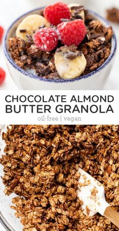 This healthy chocolate almond butter granola uses just 7 ingredients, tastes incredible and is also oil-free and vegan. It's the perfect easy homemade recipe! Just serve some almond milk over and voila - delicious gluten-free breakfast idea. #chocolategranola #homemadegranola #healthygranola #granolarecipe Chocolate Cereal, Chocolate Granola, Healthy Chocolate, Chocolate Desserts, Banana Granola, Vegan Granola, Free Breakfast, Breakfast Recipes, Breakfast Ideas