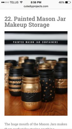 Painted mason jars for makeup                              …