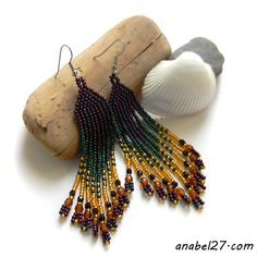 Bead earrings - purple / green / gold