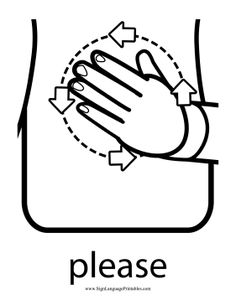 It's never too early to teach toddlers manners. This polite sign language sign shows the circular motion for the sign language word Baby Sign Language Chart, Sign Language For Toddlers, Sign Language Book, Simple Sign Language, Sign Language Phrases, Sign Language Interpreter, Sign Language Alphabet, British Sign Language, Learn Sign Language