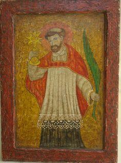 """""""San Ramón Nonato"""" Colonial venezolano principios siglo XIX, Oleo sobre Tabla, med: 25X18 cms."""