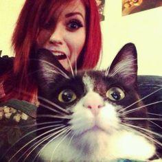 Leda Muir and her cat.