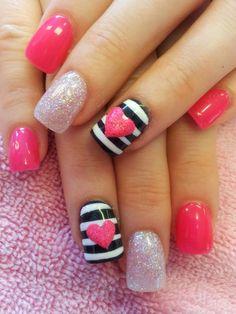 Sailor/ Anchor/ Hot Pink/ Stripes/ Accent Nail/ Acrylic