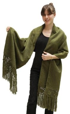 Alpaca Wool Winter Shawl Wrap with Crocheted Fringe from Peru (Leaf Green) ** For more information, visit image link.