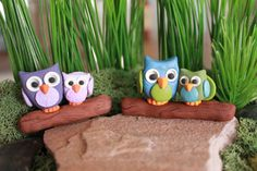 Owls on branch Made to Order You pick the color by GnomeWoods