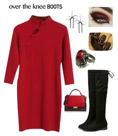 """""""Over the knee boots contest : featured item black knee boots w red sweater dress"""" by im-karla-with-a-k on Polyvore featuring Chicnova Fashion, Betsey Johnson and Emilio Pucci"""