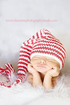 Newborn elf hat red and white striped stocking cap. for her hospital pictures :)