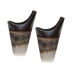 Small Reaction Vases In Cascade Mocha - Set of 2