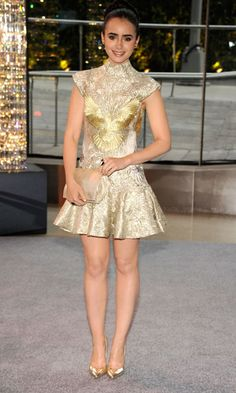 Lily Collins in gold Marchesa dress 2012 #CFDA Awards