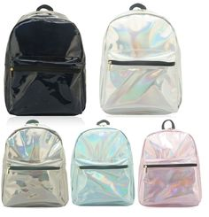 WOMENS GIRLS HOLOGRAPHIC CELEBRITY SHINNY BACKPACK COLLEGE SCHOOL SHOULDER BAG #Unbranded #Backpack