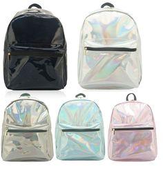 WOMENS GIRLS HOLOGRAPHIC CELEBRITY SHINNY BACKPACK COLLEGE SCHOOL SHOULDER BAG #Unbranded #Backpack