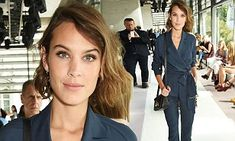 Alexa Chung in plunging jumpsuit at Topshop Unique's London Fashion Week show | Daily Mail Online