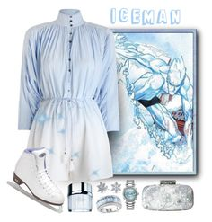 """Marvel: Iceman"" by darksyngr ❤ liked on Polyvore featuring Bling Jewelry, Rolex, Oscar de la Renta, Ice, La Prairie, Zimmermann, Riedell, marvel, comics and iceman"
