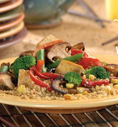 Vegetables on Quinoa with Miso-Ginger Sauce