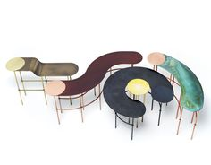De Castelli patinated copper and brass tables