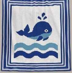 Crochet Pattern   Baby Blanket - Whale (RBR)