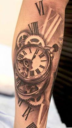 "Tattoo Artist - Miguel Bohigues - time tattoo - cool, but they messed up the 4 roman numeral...should be ""IV"" not ""IIII"""