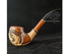 """Long Tabacco Smoking Pipe 7'' """"GOLDEN DRAGON"""" & Pouch GIFT. Author's carved pipe/pipes. Hand carved pipes. Wooden smoking pipe/pipes."""