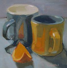 Robin Rosenthal's Paintings: Two Mugs and Orange Slice