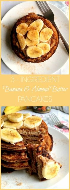 3 -Ingredient Almond butter banana pancakes via @whittypaleo