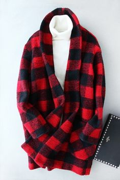 Red Black Checkered Plaid Oversized Coat
