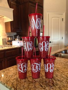 This is Heather and this is my Cousin!!! Buy from her!!!! Personalized Red Glitter Tumblers