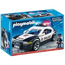 Patrol the city streets with the Police Cruiser. This classic white and black police vehicle comes equipped with flashing lights for added effect. Access the car's interior through the removable roof Play Mobile, Building Sets For Kids, Building Toys, Plastic Model Kits, Plastic Models, Playmobil City, Police Gear, Super Cool Stuff, Front Grill