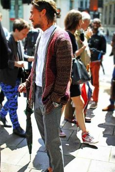 How a guy should wear a cardigan with a ponytail
