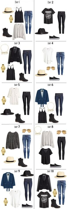 10 Days Days worth of outfits for a fall vacation packing list. The entire list is on the blog. #packinglist #packinglight #travellight #travelwardrobe