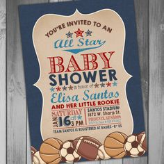 Sports Baby Shower All Star Baby Shower Baseball Baby Football Baby Soccer Baby Basketball Baby Printable Baby Shower Invitation Coed Baby by CLaceyDesign on Etsy https://www.etsy.com/listing/262651192/sports-baby-shower-all-star-baby-shower