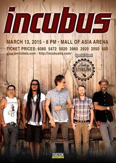 Incubus Live in Manila this March 2015! | The Captain's Log
