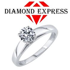 """1/2 Ct Real Moissanite 18K Gold Solitaire Engagement Wedding Engagement Ring """""""". Starting at $89"""