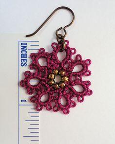 Tatted earrings boysenberry rosette
